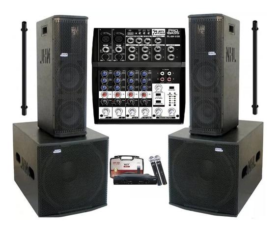 Caixa Amplificada Ativa 2x8 Sub 18 2600w Mesa Som Microfones