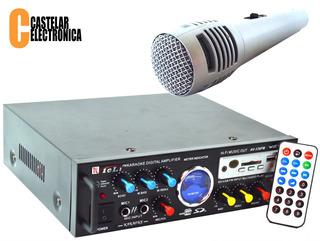 Amplificador Potencia Usb/fm Karaoke + Micrófono De Mano