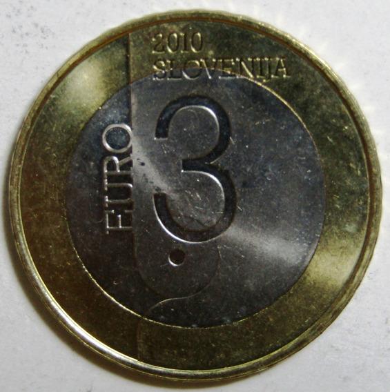 Eslovenia 3 Euros Bimetalica 2010 Book Capital Km# 85 Unc