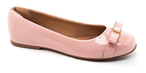 Sapatilhas Femininas Bico Redondo Rosa Verniz Detalhe Pérola