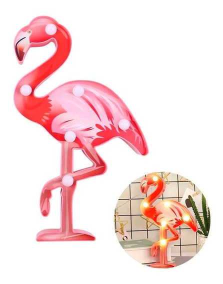 Lampara Cartel Luminoso Flamenco De Plástico 22 Cm Cuotas