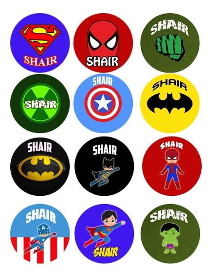 Marvel Superhéroes Circulos Sticker Imprimibles Toppers