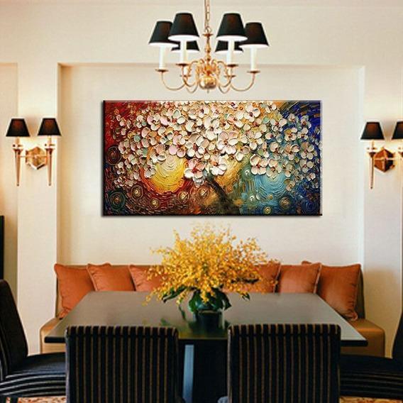 Tela Lona Arte Moderna Abstrata Acrílico Flores Pintura Óleo