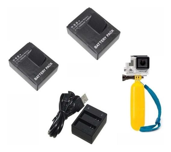Hero 3 Go Pro 2 Baterias + Duplo Carregador + Bastão Flutuan