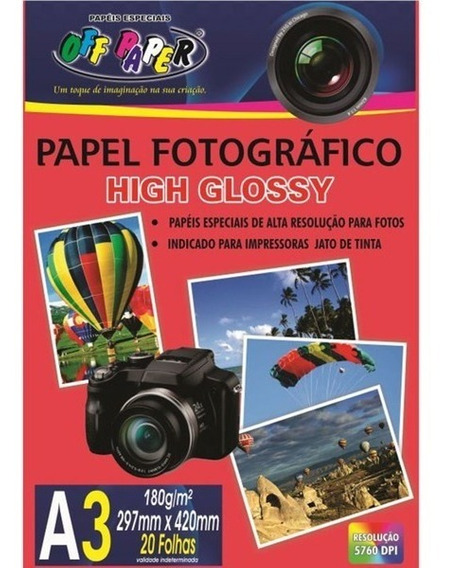 Papel Fotográfico Glossy Off Papaer A3 20f 180g - 10061