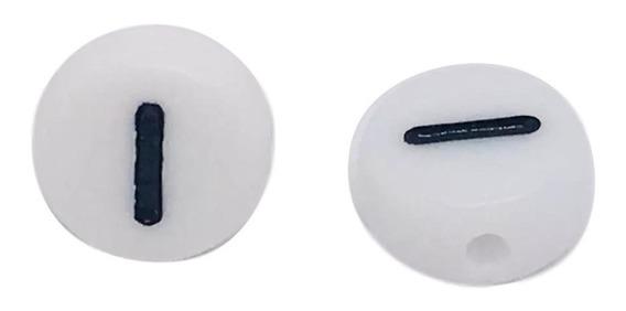 Letra I Tipo Luneta Acrílico Blanco Con Negro 100 Piezas