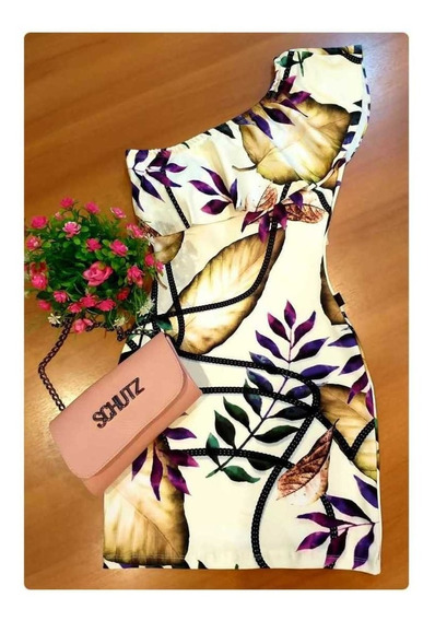 Vestido Feminino Ombro Único Estampado Roupas Femininas