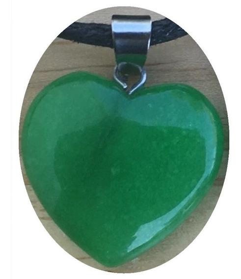 Dije Corazón Jade Malasio Natural Collar Nudo Corredizo H7x3