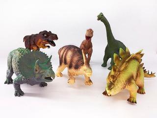 Set 6 Dinosaurios De Goma 25 Cm De Largo Promedio Manymals