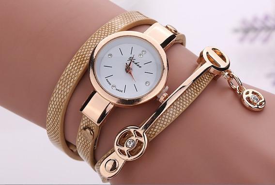 Relógio Pulseira Feminino Dourado Importado Couro Pingente