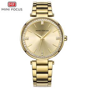 Relógio Feminino Mini Focus Pulseira De Aço