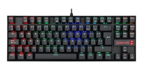 Imagen 1 de 2 de Teclado gamer Redragon Kumara K552 QWERTY Outemu Blue español latinoamérica color negro con luz RGB