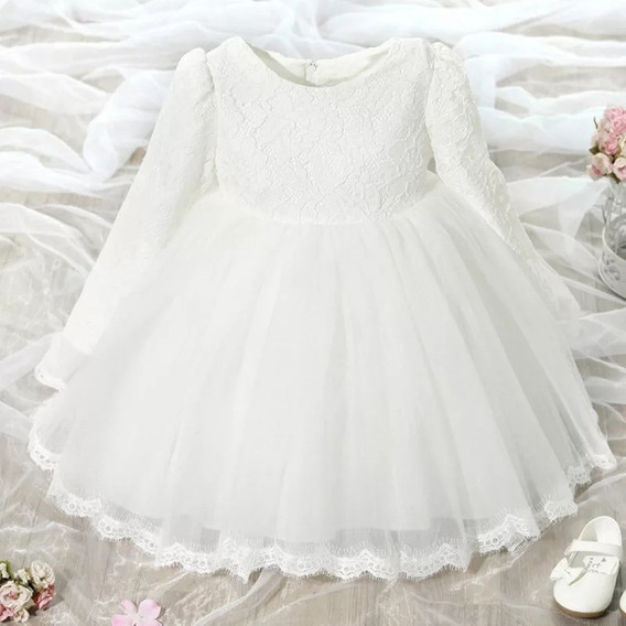 Vestido Inverno Manga Longa Batismo Festa Branco Tam 1/3 Meses Princesa Renda Lindo Oferta