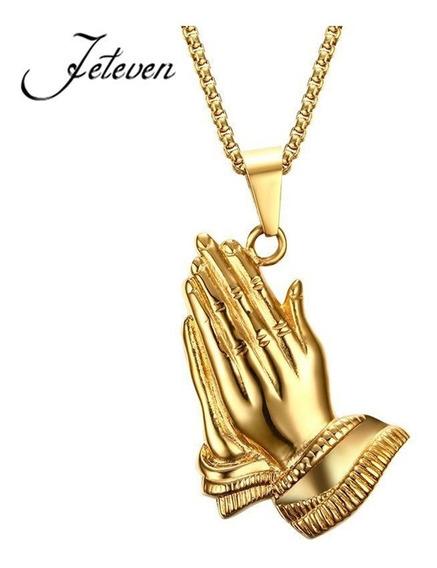Colar Mão Oração Buda Pingente Ouro Sorte Cordão
