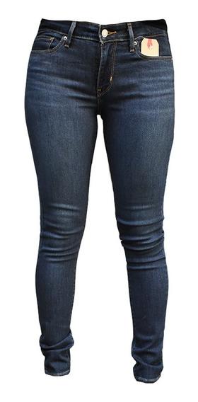 Jean Mujer 711 Skinny Tiro Medio Azul Oscuro Elastizado