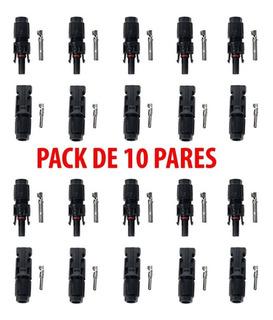 10 Pares Conector Mc4 Para Paneles Solares Fotovoltaicos