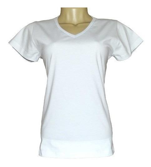 Kit 14 Camiseta Feminina Lisa De Sublimação Gola Em V