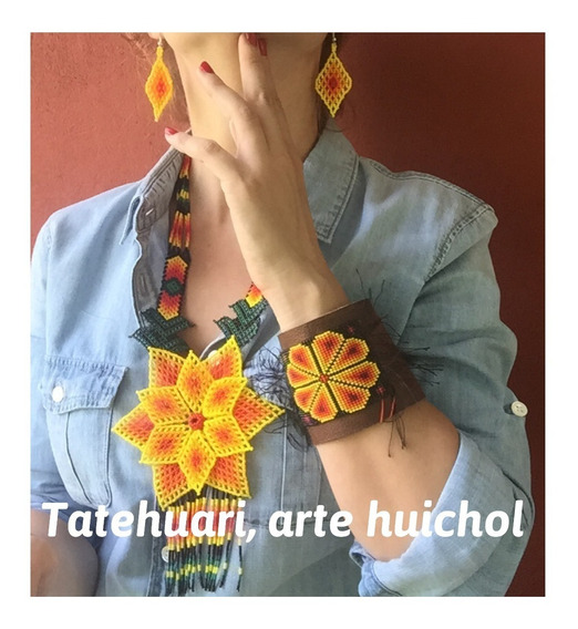 Collar De Chaquira Huichol Artesanía Huichol, Amarillo