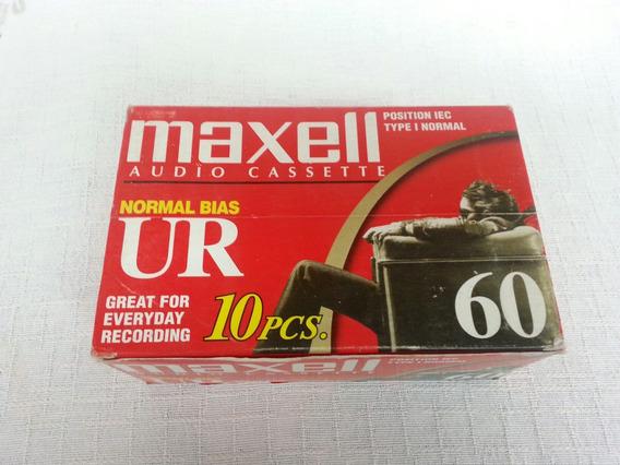 Caixa C/ 10 Unidades Fitas K7 Maxell Ur-60 Nova Frete Grátis