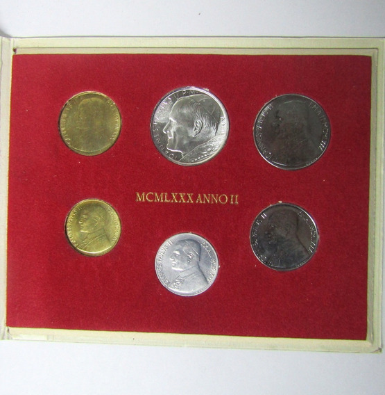 Vaticano Monedas Set De 6 Liras Año 1980 Juan Pablo Ii Unc