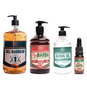 Kit Cosméticos 1 Gel Barbear 1 Pós-barba 1 Óleo 1 Álcool Gel