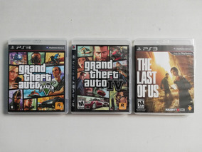 Lote, Kit 3 Jogos Ps3 Gta V, Gta Iv, The Last Of Us - Usados