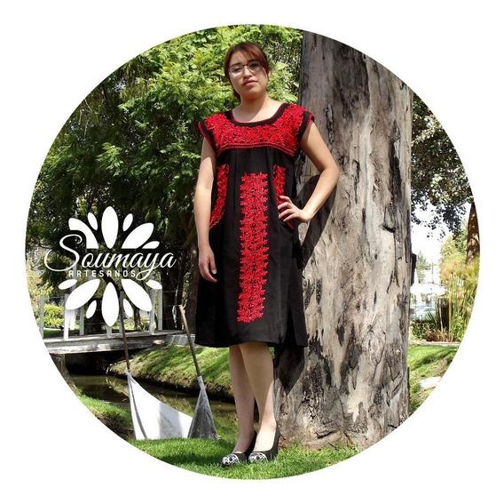 Vestido Elegante De Lujo Artesanal Bordado Mexicano Típico