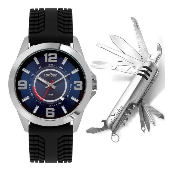 Relógio Condor Masculino Prata Pulseira Preta Com Canivete