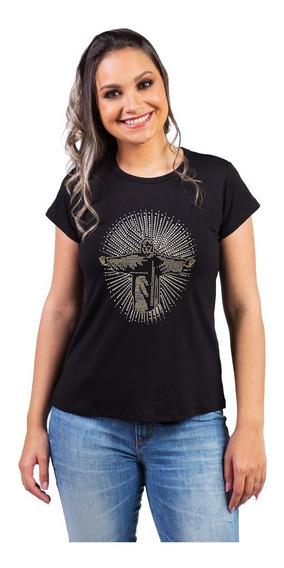 Camiseta Rio De Janeiro Cristo Redentor Em Strass Linda Moda