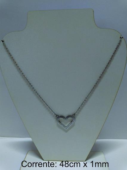 Colar Coração Amor Aço Inox 316l Hipoalergênico