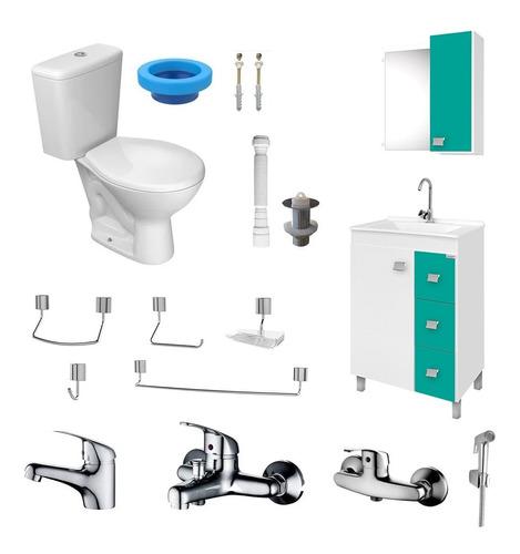 Imagen 1 de 9 de Juego De Baño Completo Loza-griferia-muebles-accesorios
