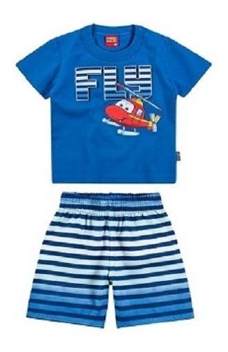Conjunto Bebê Masculino Camiseta Manga Curta E Short Tactel