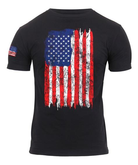 Remera Bandera De Estados Unidos A Color, Xl, Negro