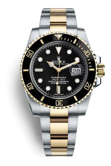Relógio Masculino Suiço Submariner Misto Dourado