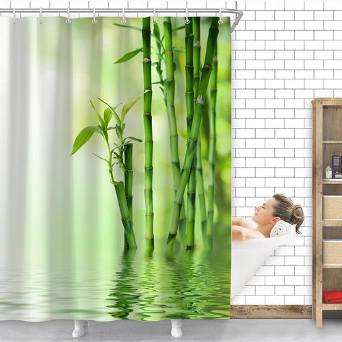 con 12 Ganchos Resistente 180 x 180 cm ZHANGSHUQI Cortina de Ducha de bamb/ú y Agua