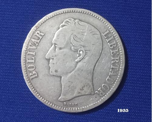 Fuerte De Plata, (5 Bolívares); 25gr. Lei 900. Varios Años
