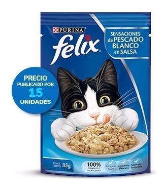 Purina® Felix® Sensaciones De Pescado Blanco En Salsa 15x85g