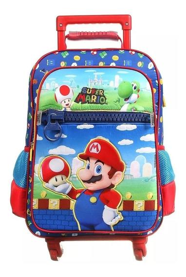 Mochila Com 4 Rodinhas Super Mario - Dmw 11743 Tam G