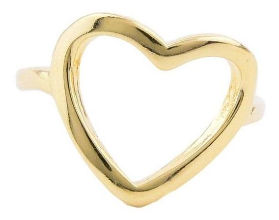 Anel Coração Vazado Banhado A Ouro 18k Semijoia