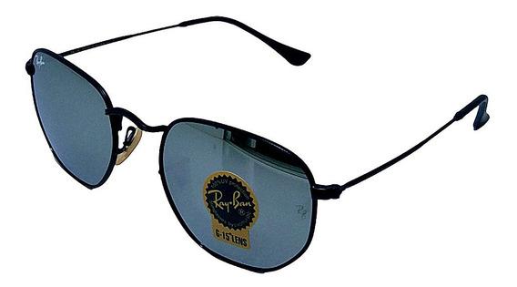 Óculos De Sol Hexagonal Retro Vintage Masculino Feminino Prata Espelhado Tamanho 51 M