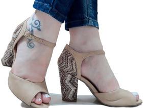 Sandália Feminina Salto Alto Grosso 8cm+ Sapatilha Promoção