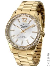 Relógio Champion Feminino Dourado Ponteiro Cristal Cn29267h