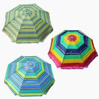 3 Sombrillas Paraguas Playa, Exteriores Grande 215cm Diam