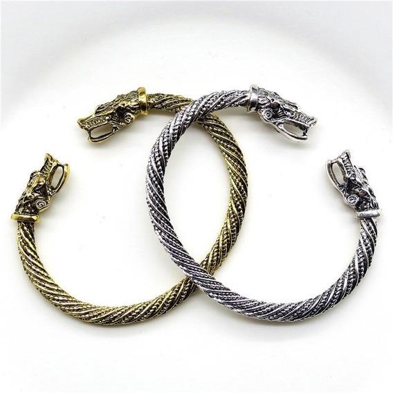 Pulseira Bracelete Moda Viking Cabeça De Dragão