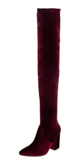 Bota Feminina Over Knee Vinho Via Marte - 175704