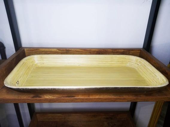 Bandeja Grande Gold Deco Bamboo 40 Cm