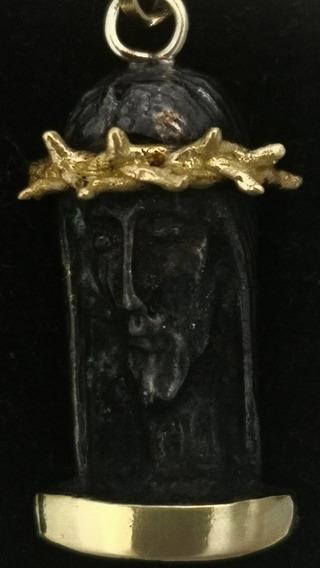 Divino Rostro Oro Macizo Amarillo Con Plata Pavonada Negra