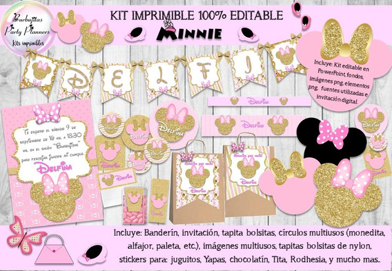 Kit Imprimible Minnie Rosa Y Dorado 100% Editable