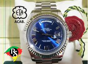 Relógio Day Date 40mm Azul Aço Romano Safira Automático Top