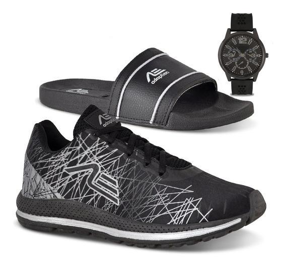 Tênis Masculino Caminhada + Chinelo + Relógio Spider